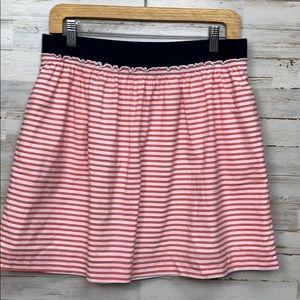 JCrew pink striped mini skirt size 4 elastic waist